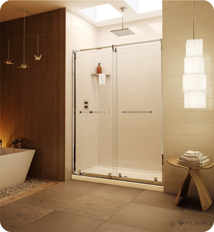 "Fleurco LX47  Luxe Axent In-Line Bypass Sliding Shower Doors - 47"" to 49"""