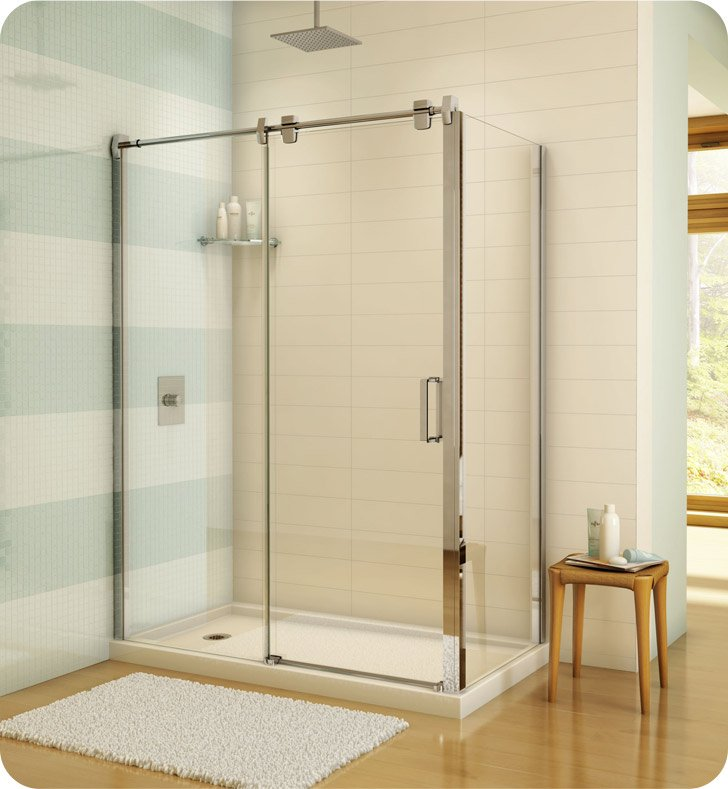 "Fleurco LGR7242-11-40  Luxe Glide 69"" In-Line Sliding Shower Door and Fixed Panel with Return Panel With Return Panel: 42"" Return Panel And Hardware Finish: Bright Chrome And Glass Type: Clear Glass"
