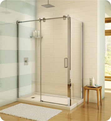 "Fleurco LGR7236-11-40  Luxe Glide 69"" In-Line Sliding Shower Door and Fixed Panel with Return Panel With Return Panel: 36"" Return Panel And Hardware Finish: Bright Chrome And Glass Type: Clear Glass"