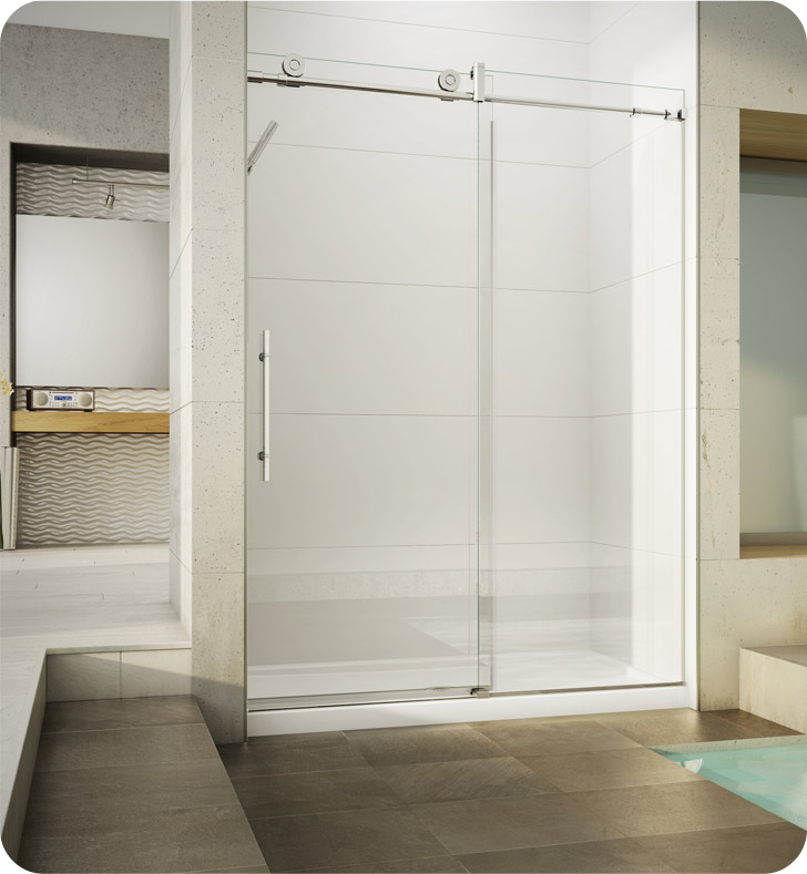 Fleurco KN45-35-40R-Y KN Kinetik In-Line 48 Sliding Shower Door and Fixed Panel with Flush-Pull Handle With Hardware Finish: Brushed Stainless And Glass Type: Clear Glass And Door Direction: Right And Shower Door Handles: Flush-Pull Handle And Towel Bar: Round Towel Bar - Brushed Finish