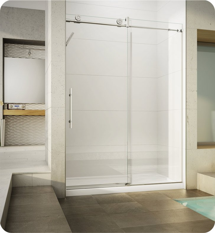 Fleurco KN57-35-40R-BH KN Kinetik In-Line 60 Sliding Shower Door and Fixed Panel With Hardware Finish: Brushed Stainless And Glass Type: Clear Glass And Door Direction: Right And Shower Door Handles: Curved And Towel Bar: Flat Towel Bar - Brushed Finish
