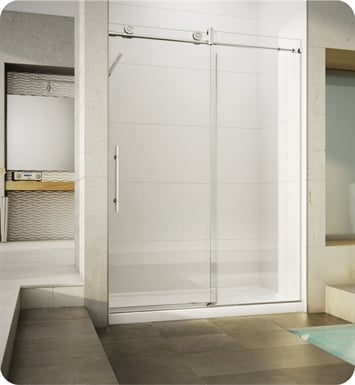 Fleurco KN57-35-40L-B KN Kinetik In-Line 60 Sliding Shower Door and Fixed Panel With Hardware Finish: Brushed Stainless And Glass Type: Clear Glass And Door Direction: Left And Shower Door Handles: Curved