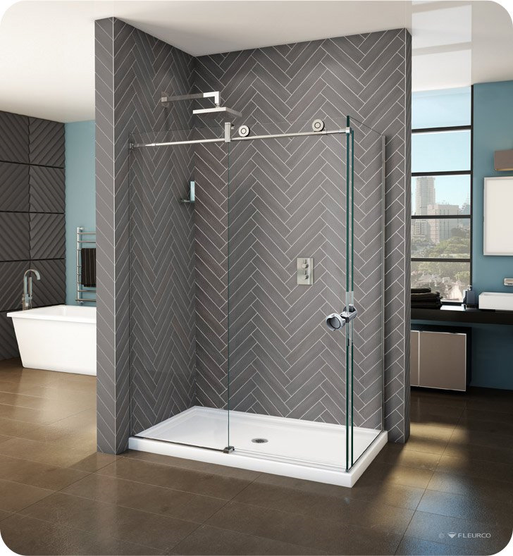 Fleurco KNPR45 KN Kinetik In-Line 48 Sliding Shower Door and Fixed Panel with Return Panel and Flush-pull Handle (Closes against return panel)