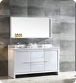 "Fresca FVN8119WH Allier 60"" Double Sink Modern Bathroom Vanity in Glossy White"