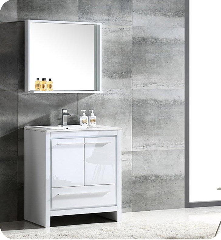 "Fresca FVN8130WH Allier 30"" Modern Bathroom Vanity with Mirror in Glossy White"