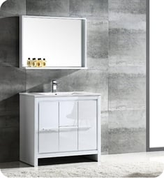 "Fresca FVN8136WH Allier 36"" Modern Bathroom Vanity with Mirror in Glossy White"