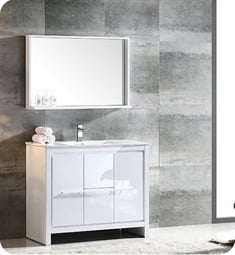 "Fresca FVN8140WH Allier 40"" Modern Bathroom Vanity with Mirror in Glossy White"