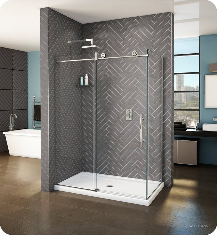 "Fleurco KNPR5748-35-40L-DY KN Kinetik In-Line 60 Sliding Shower Door and Fixed Panel with Return Panel (Closes against return panel) With Return Panel: 48"" Return Panel And Hardware Finish: Brushed Stainless And Glass Type: Clear Glass And Door Direction: Left And Shower Door Handles: Flat And Towel Bar: Round Towel Bar - Brushed Finish"