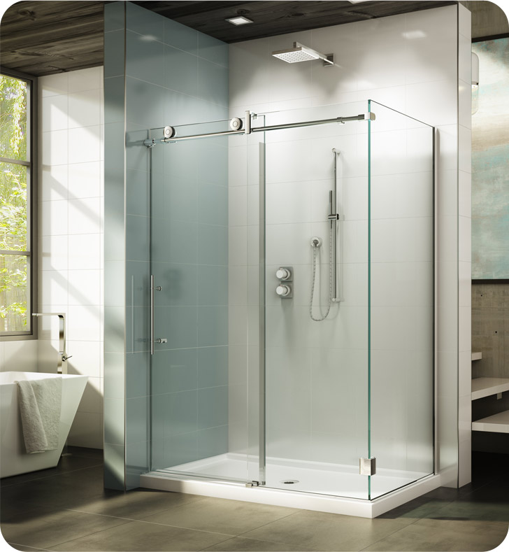 "Fleurco KNWR5732-11-40R-C KN Kinetik In-Line 60 Sliding Shower Door and Fixed Panel with Return Panel (Closes against wall) With Return Panel: 32"" Return Panel And Hardware Finish: Polished Stainless And Glass Type: Clear Glass And Door Direction: Right And Shower Door Handles: Twist"