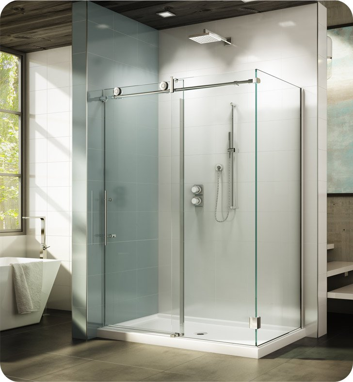 "Fleurco KNWR5748-35-40R-BH KN Kinetik In-Line 60 Sliding Shower Door and Fixed Panel with Return Panel (Closes against wall) With Return Panel: 48"" Return Panel And Hardware Finish: Brushed Stainless And Glass Type: Clear Glass And Door Direction: Right And Shower Door Handles: Curved And Towel Bar: Flat Towel Bar - Brushed Finish"