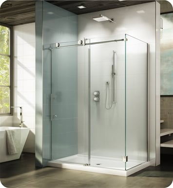 "Fleurco KNWR5748-35-40L-BH KN Kinetik In-Line 60 Sliding Shower Door and Fixed Panel with Return Panel (Closes against wall) With Return Panel: 48"" Return Panel And Hardware Finish: Brushed Stainless And Glass Type: Clear Glass And Door Direction: Left And Shower Door Handles: Curved And Towel Bar: Flat Towel Bar - Brushed Finish"