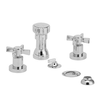 Phylrich D4137-065 Basic Four Hole Bidet Set With Finish: Satin Nickel with Polished Gold