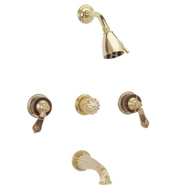 Phylrich K2271-024 Regent Three Handle Tub and Shower Set With Finish: Satin Gold