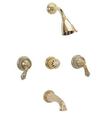 Phylrich K2270-084 Regent Three Handle Tub and Shower Set With Finish: Satin Gold with Satin Nickel