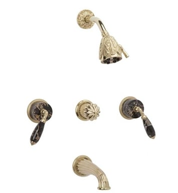 Phylrich K2338C-OEB Valencia Three Handle Tub and Shower Set With Finish: Old English Brass