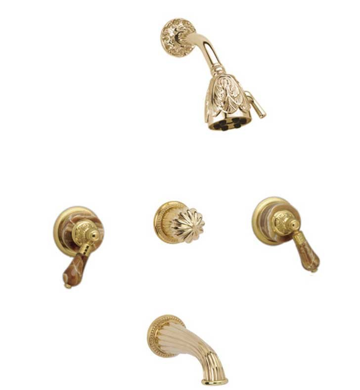 Phylrich K2241-24J Versailles Three Handle Tub and Shower Set With Finish: Satin Jewelers Gold