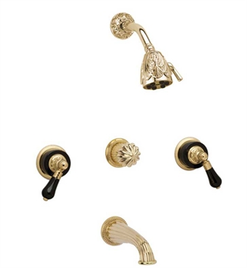 Phylrich K2244-24D Versailles Three Handle Tub and Shower Set With Finish: Satin Gold Antiqued