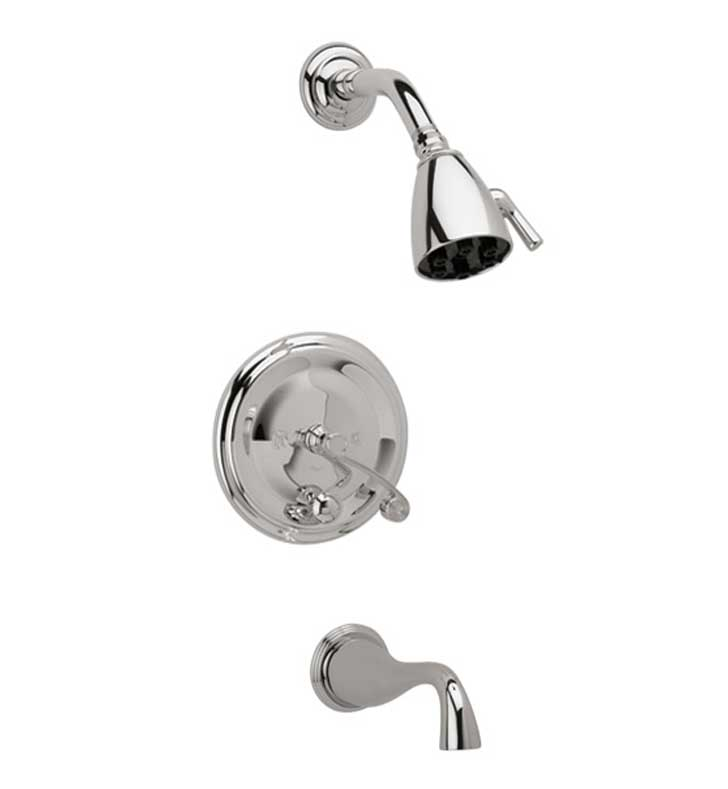 Phylrich DPB2206-007 3Ring Curved Handle Pressure Balance Tub and Shower Set With Finish: Polished Brass Antiqued