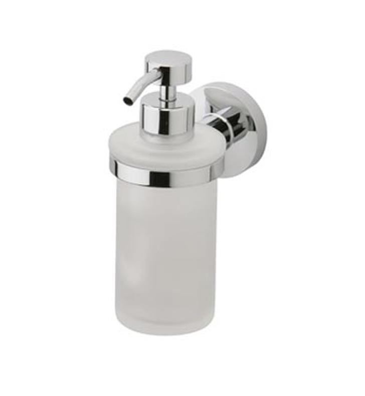 "Phylrich DB25D-026 Basic 2 5/8"" Wall Mount Frosted Glass Soap Dispenser With Finish: Polished Chrome"