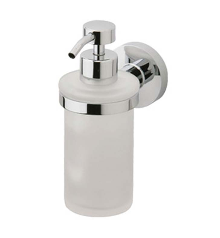 Phylrich DB25D-025 Basic Soap Dispenser in Polished Chrome with Frosted Glass With Finish: Polished Gold