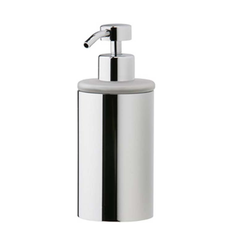 Phylrich DB20D-047 Basic Soap Dispenser in Polished Chrome with Frosted Glass With Finish: Antique Brass