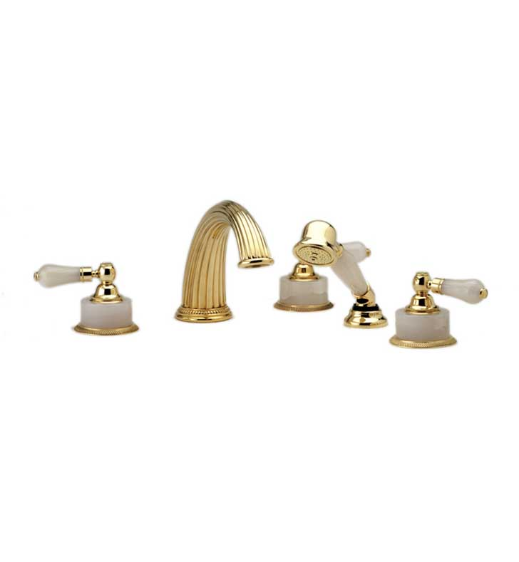 Phylrich K2273P1-080 Regent Kitchen Deck Set with Hand Shower With Finish: Satin Nickel with Polished Brass