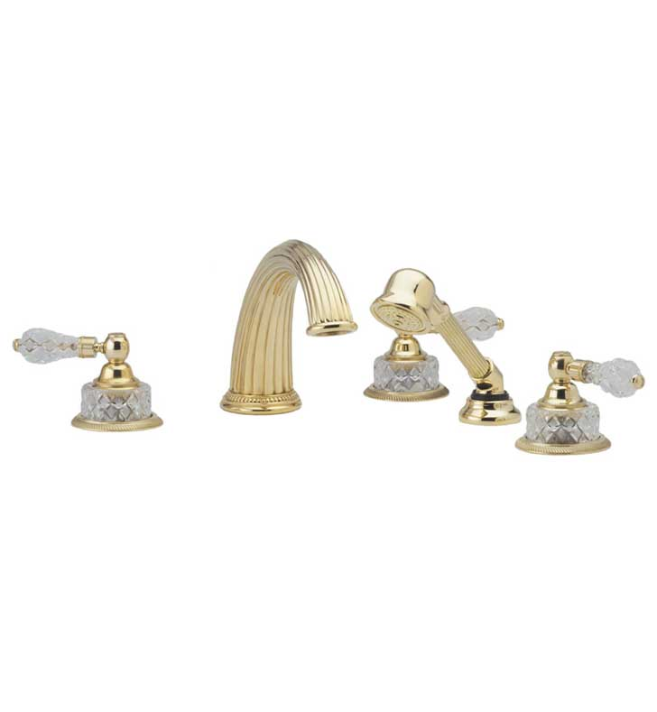 Phylrich K2181P1-03U Regent Cut Crystal Kitchen Deck Set with Hand Shower With Finish: Polished Brass Uncoated