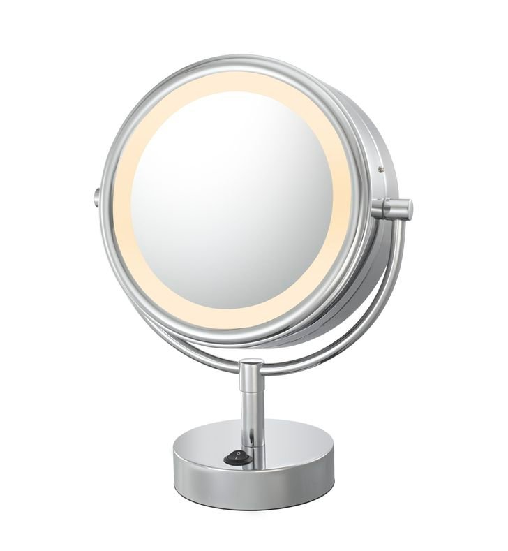 Aptations 725 Neo Modern Double-Sided LED Lighted Round Free-Standing Mirror from the Kimball & Young Collection