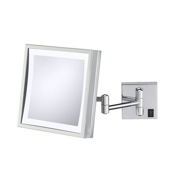 Aptations 91273HW Single-Sided LED Lighted Square Wall Mirror from the Kimball & Young Collection With Finish: Brushed Nickel And Wiring: Hardwired