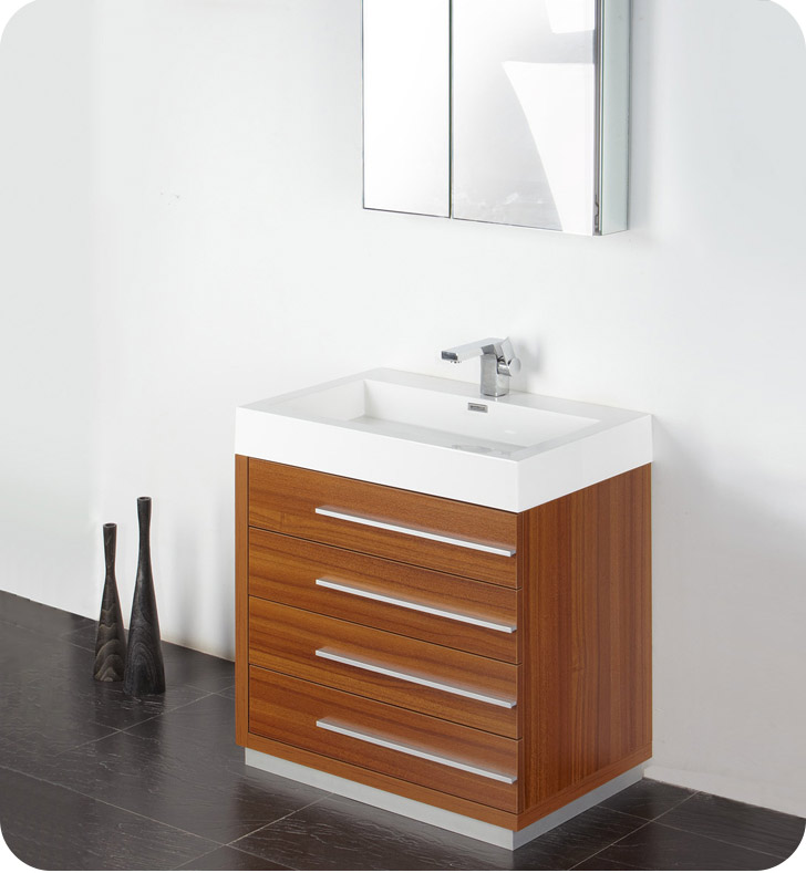"Fresca FVN8030TK Livello 30"" Modern Bathroom Vanity with Medicine Cabinet inTeak"