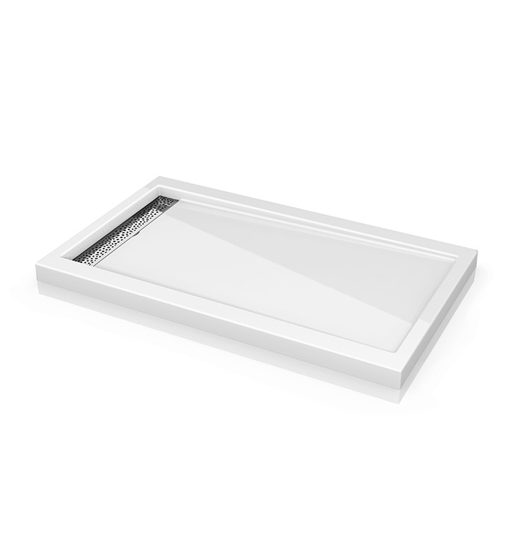 "Fleurco ABE3648-18-25 Quad Reversible Acrylic Shower Base with Side Drain Position & Linear Drain Cover With Base Size: 48"" x 36"" x 3"" And Finish: White And Drain Cover: Brushed Nickel Finish Drain Cover"