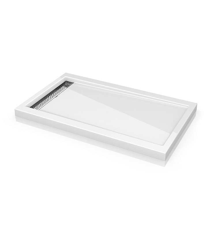 "Fleurco ABE3660-18-25 Quad Reversible Acrylic Shower Base with Side Drain Position & Linear Drain Cover With Base Size: 60"" x 36"" x 3"" And Finish: White And Drain Cover: Brushed Nickel Finish Drain Cover"