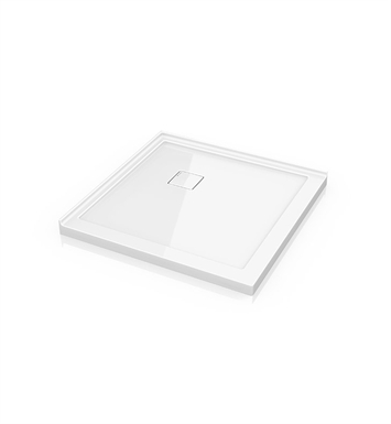 "Fleurco ALC42-18 Square Low Profile Acrylic Shower Base with Concealed Corner Drain With Base Size: 42"" x 42"" x 2"" And Finish: White"