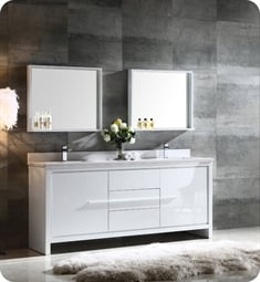 "Fresca FVN8172WH Allier 72"" Double Sink Modern Bathroom Vanity in White"