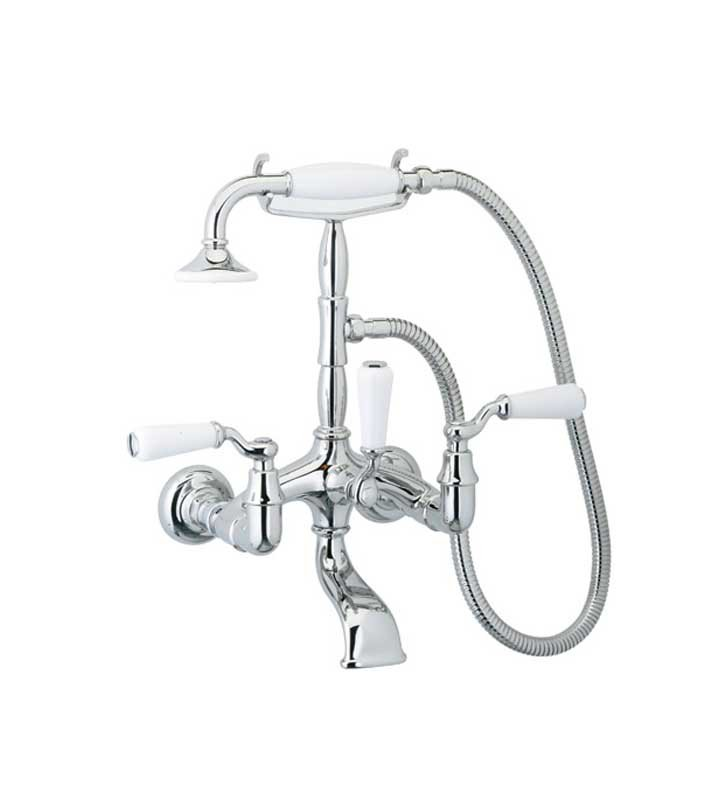 Phylrich K2393-24D Old Tyme Wall Mounted Tub & Shower Set With Finish: Satin Gold Antiqued