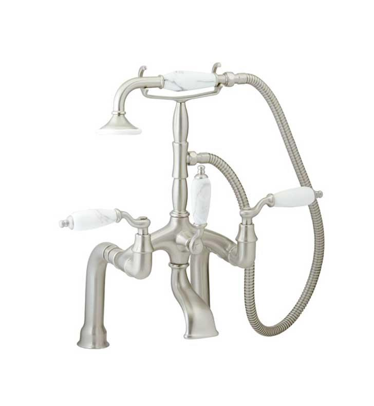"Phylrich K2394BD-004 Old Tyme 10 1/8"" Double Lever Handle Deck Mounted Exposed Tub Filler with Handshower With Finish: Satin Brass And Handles: White Marble"