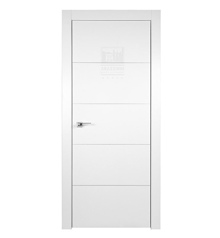 Arazzinni AZ-4H-9010-2480-CIH SmartPro 4H Polar White Modern Interior Door With Door Width: 23 13/16 inches And Hanging Options: Complete with Door Jambs, Casing, Door Handle Pre-drilling, and Chrome Concealed Italian Hinges