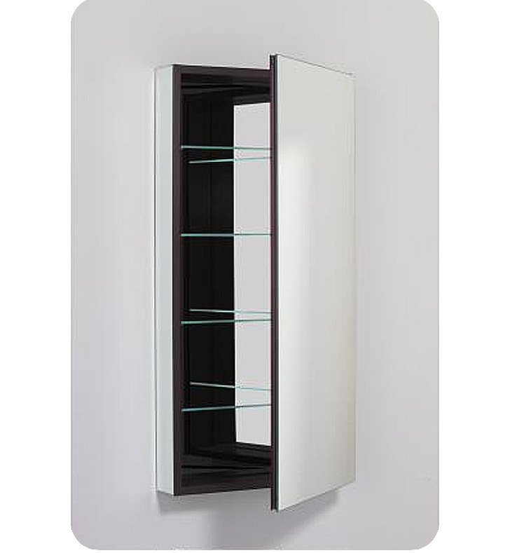 "Robern PLM2040BBLE PL Series 19-1/4"" x 39-3/8"" Customizable Medicine Cabinet w/ Wide Flat Door With Cabinet Hinge: Left with Electric Option And Style and Color: Black Interior And Mirror Type / Lens: Beveled"