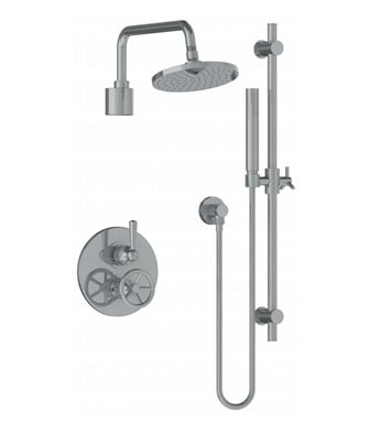 Watermark 31-6.75TO-BK-SC Brooklyn Thermostatic Shower Set with Handshower With Finish: Satin Chrome <strong>(USUALLY SHIPS IN 8-9 WEEKS)</strong>