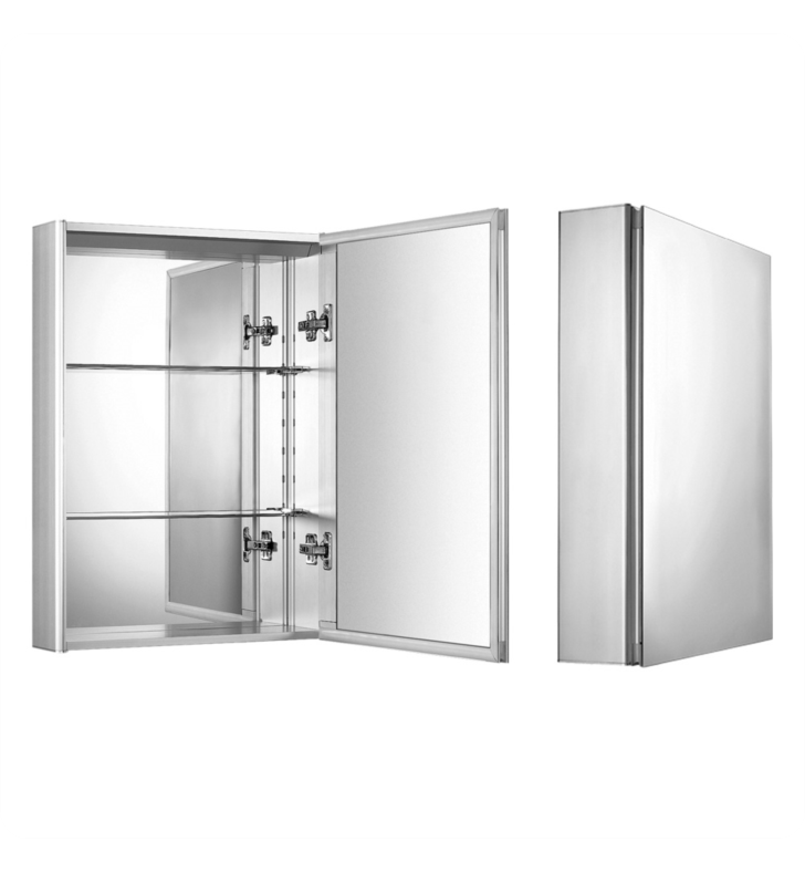 Whitehaus WHKAL Medicinehaus Medicine Cabinet with Double Faced Mirrored Door, Two Adjustable Glass Shelves and Mirror Faced Back Wall