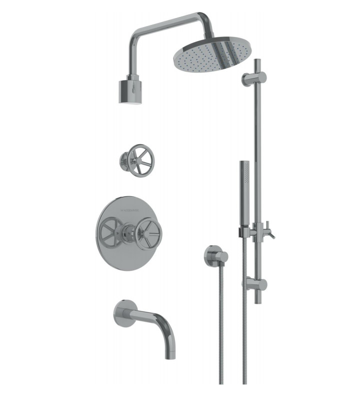 Watermark 31-3.98TO-BK-AB Brooklyn Thermostatic Shower Set with Handshower With Finish: Antique Brass <strong>(USUALLY SHIPS IN 8-9 WEEKS)</strong>
