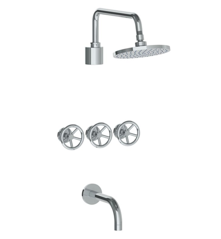 Watermark 31-3TO-BK-APB Brooklyn Three Valve Tub/Shower Set With Finish: Aged Brass <strong>(USUALLY SHIPS IN 8-9 WEEKS)</strong>