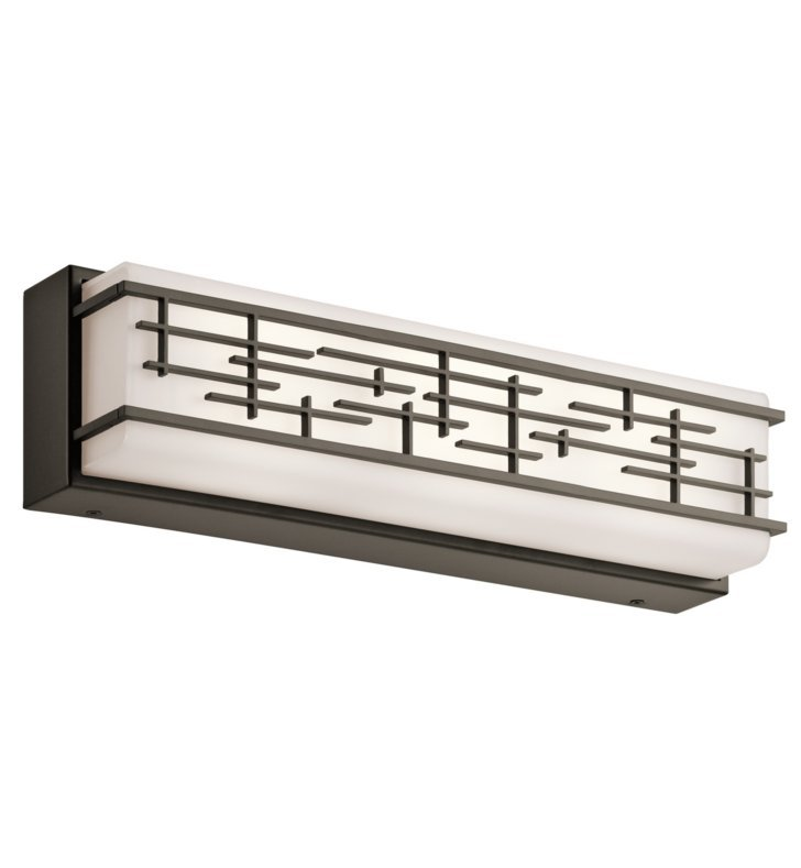 linear bathroom lighting kichler 45829ozled zolon 18 quot linear led bath light in olde 13501