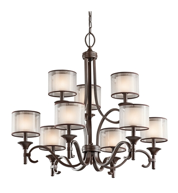 Kichler 42382AP Lacey Collection Chandelier 9 Light With Finish: Antique Pewter