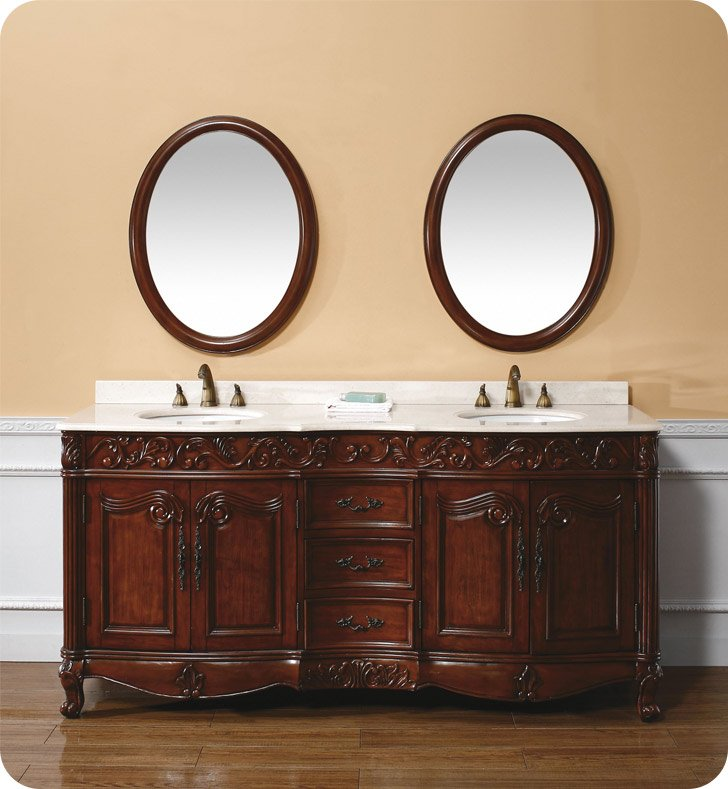 "James Martin 206-001-5510 Embassy 72"" Double Sink Bathroom Vanity with Creme Marble Top in Dark Cherry Finish"