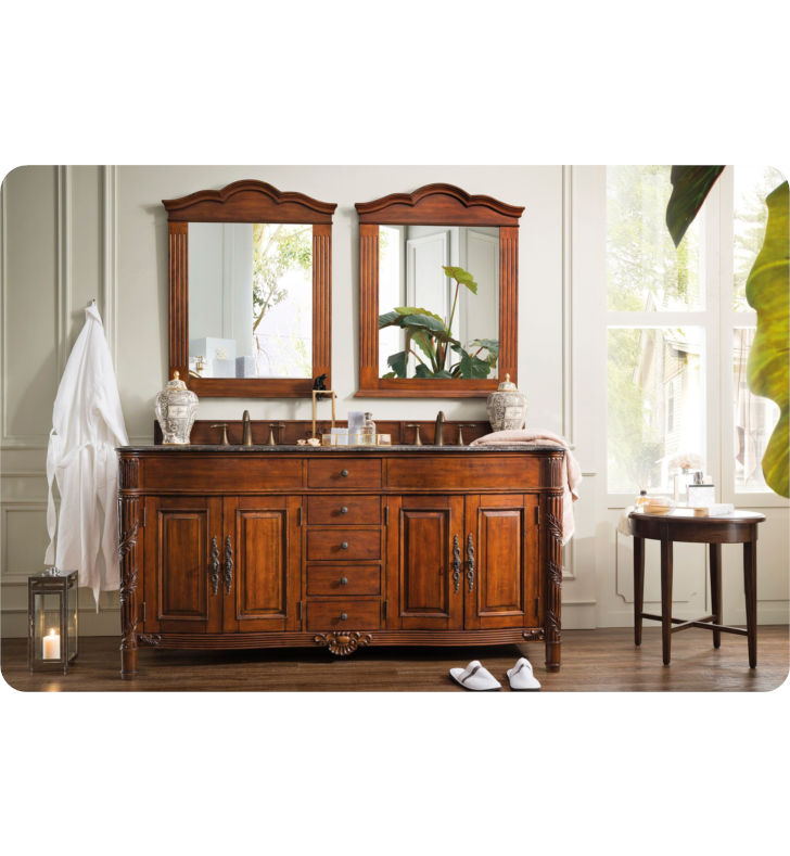 "James Martin 206-001-5508 Florentine 72"" Double Sink Bathroom Vanity with Granite Top in Cherry Finish"