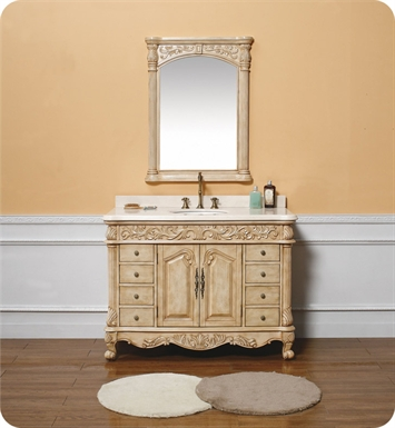 "James Martin 206-001-5126 Monte Carlo 48"" Single Sink Bathroom Vanity with Marble Top in Parchment Finish"