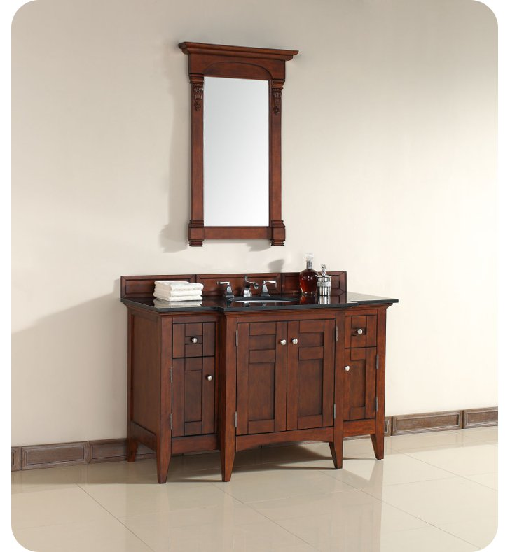 "James Martin 900-V53-WCH-ABK North Hampton 53"" Single Sink Bathroom Vanity with Black Granite Top in Warm Cherry Finish"