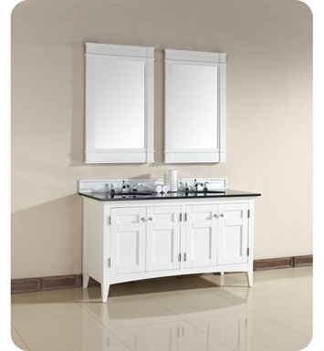 "James Martin 900-V60D-PWH-ABK North Hampton 60"" Double Sink Bathroom Vanity with  Black Granite Top in White Finish"