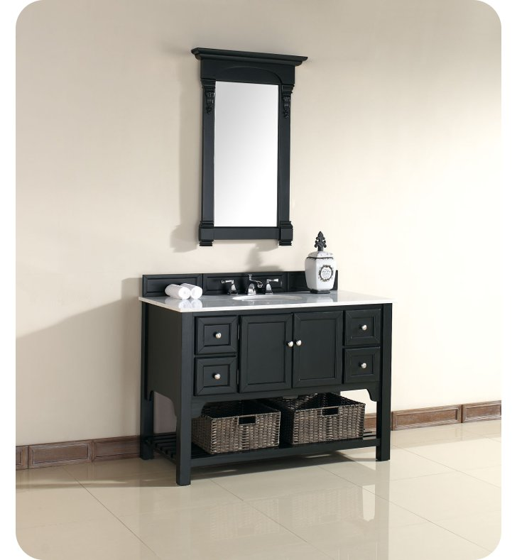 "James Martin 925-V48-AQB-GWH South Hampton 48"" Single Sink Bathroom Vanity with Guangxi Marble Top in Antique Black Finish"